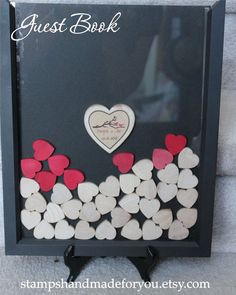 Wedding guest book  Unique Heart Guestbook -11x14 up to  70 hearts  -  Frame included