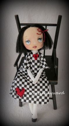 Cloth doll with black hair by suziehayward on Etsy, $68.00 sold