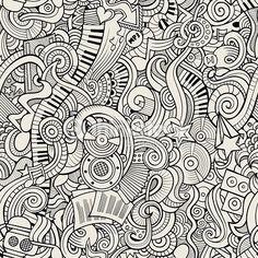 Vector Art : Cartoon hand-drawn doodles music seamless pattern
