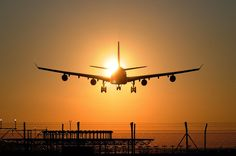 A340 landing into the setting sun