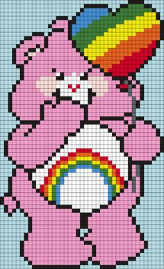 Cheer_Bear_from_the_Care_Bears_(sq) by Maninthebook on Kandi Patterns