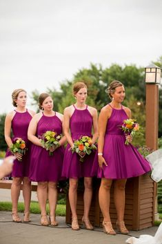 Short chiffon bridesmaid dresses in wine. So perfect for summer or fall weddings! | Kennedy Blue Sienna | Photo by : Callie V Photography