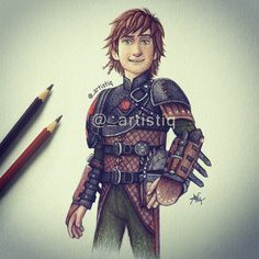 Colored pencil drawing of Hiccup from How to train your dragon 2!