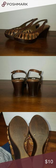 Nicole brown wedge sandals Brown wedge sandals, peep toe, excellent condition. Nicole Shoes Sandals