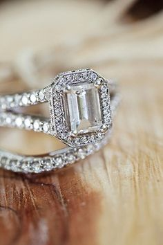 Emerald cut engagement ring.
