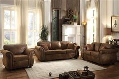 Corvallis Traditional Brown Microfiber Living Room Set