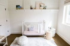 White crib in child's nursery - Foothill Drive Project Studio Mcgee, Kids Room Design, Nursery Design, Nursery Decor, Rocking Chair Nursery, Adirondack Chairs For Sale, Bathroom Kids, Nursery Inspiration, Little Girl Rooms