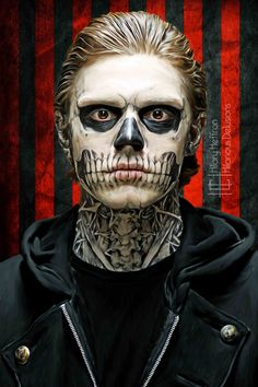 Offered here is a digital painting of Tate Langdon (Evan Peters) from American Horror Storys first season: Murder House. Perfect for a lover Zombie Makeup, Fx Makeup, Horror Icons, Horror Art, Helloween Make Up, Tate And Violet, Halloween Disfraces, Evan Peters, Film Serie
