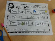 Sight Word Sentences! {read.snip.glue.write} Fun center to practice reading and writing sight words in sentences. $