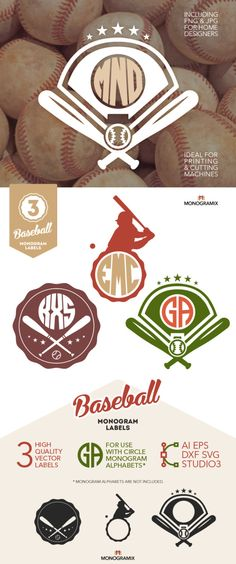Baseball Monogram Labels, Vector Circle Monograms, Baseball Vector Clipart (Ai, Eps, Png, Dxf, Svg, Studio3) Cutting Machines, Vinyl Cutters by Monogramix on Etsy https://www.etsy.com/listing/218724108/baseball-monogram-labels-vector-circle