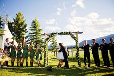 First Kiss in Red Lodge, Montana Outdoor Wedding