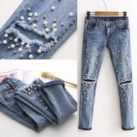 Women Fashion Destroyed Ripped pearled Slim Denim Pants Boyfriend Jean – geekbuyig You are in the right place about Women's Jeans brands Here we offer you the most beautiful pictures about the Women's Jeans Denim, Jeans Skinny, Casual Jeans, Jeans Style, Jeans Pants, Ripped Jeans, High Jeans, Cut Jeans, Harem Pants