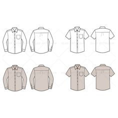 Men's Button Down Shirt Fashion Flat Templates