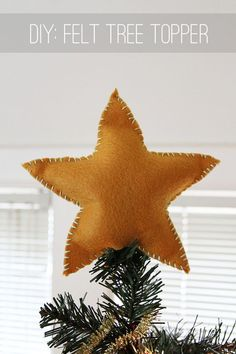 diy felt star topper--oh my goodness, i looked everywhere for a star this year and didn't like anything--why didn't i think of this? i would change the colors a little, bit this is brilliant, and it will hopefully stay in place better!