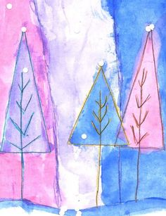 Abstract Winter Tree Art Project for Kids - start with triangles and go from there - art and math for small hands