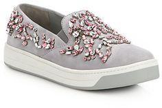 Prada Jeweled Suede Slip-On Sneakers