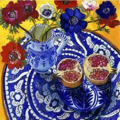 pomegranates on blue china
