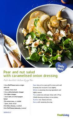 PERFECT PEAR-ING: Team up sliced pears and flaked almonds to give your Meat-free Monday salad a sweet twist. Dip Recipes, Yummy Recipes, Recipies, Yummy Food, Healthy Meals, Healthy Recipes, Vegetarian Side Dishes, South African Recipes, Recipe Search