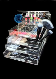 The NEW addition to the ICEbOX Collection!  The Skinny Mini <3 5 tier with 4 drawers - 3 removable and adjustable inserts for free! Each grid pocket can hold double the makeup you see there.  The perfect gift for any occasion! Order now at www.sherrieblossom.com and get the same brand celebrities choose!