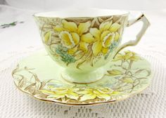 Aynsley Green Tea Cup and Saucer with Daffodils, Vintage Bone China