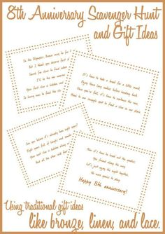 Such fun and creative anniversary gift ideas, love incorporating traditional anniversary gifts like bronze, linen, and lace into a fun scavenger hunt! Bronze Anniversary Gifts, Diy Anniversary Gifts For Him, Traditional Anniversary Gifts, 8th Wedding Anniversary Gift, Bday Gifts For Him, Birthday Gifts For Sister, Unique Birthday Gifts, Anniversary Plans, 2nd Birthday
