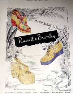 Russell & Bromley Country Life May 1947, UK, south sea island inspired shoes, post war
