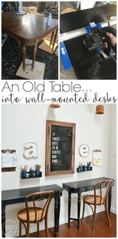 What a great idea to use an old table to make kids desks! Just cut off each end and attach it to the wall for wall desks that don't take up much space, and are inexpensive. kids desk Reuse an Old Table to Make Wall-Mounted Desks Retro Furniture, Repurposed Furniture, Home Furniture, Kitchen Furniture, Furniture Layout, Timber Furniture, Garden Furniture, Office Furniture, Handmade Furniture