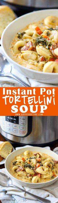 ** Our advice: make it with gluten free pasta ** This Instant Pot Creamy Tortellini Soup is a must make soup if you have Instant Pot. It's creamy, hearty and perfect for this cold weather. Pasta Recipes, Crockpot Recipes, Soup Recipes, Cooking Recipes, Healthy Recipes, Healthy Food, Recipies, Crockpot Dishes, Potato Recipes