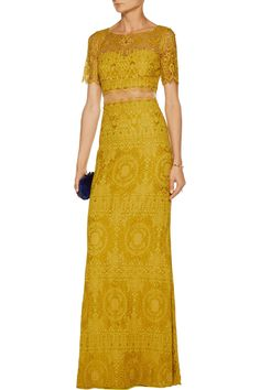 Shop on-sale Marchesa Notte Tulle-paneled embellished corded lace gown. Browse other discount designer Dresses & more on The Most Fashionable Fashion Outlet, THE OUTNET.COM