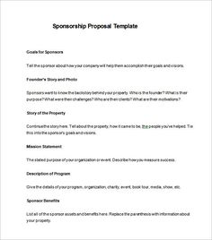 Image Result For Sponsorship Proposal Template  Knights Of