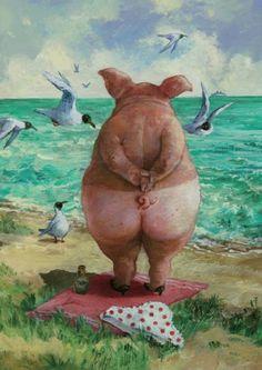 Zuversichtlich betrachtete sie die Weite des Meeres. Ihre Bilder verkaufen sich schweinisch guat.