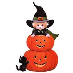 Cute Halloween Clip Art | Cute Halloween Cartoon Baby Witches