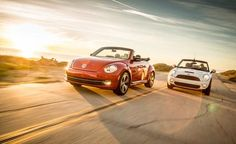 2013 #Volkswagen #Beetle #Turbo #Convertible vs. 2013 #Mini #Cooper S Convertible  Greeting the #Sun: Because yoga is a real thing.