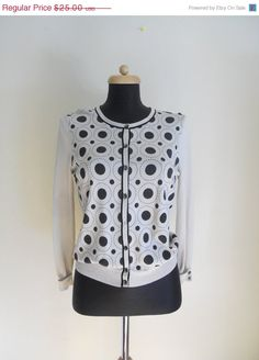 WINTER SALE 60's Mod Polka Dot Sweater by Bigna on Etsy, $20.00