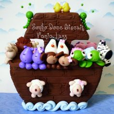 Arca de Noé by Sonho Doce Biscuit *Vania.Luzz*, via Flickr Fimo Clay, Polymer Clay Crafts, Pato Animal, Noahs Ark Cake, Creative Area, Cake Decorating With Fondant, Biscuit, Fondant Figures, Pasta Flexible