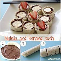 This Banana and Nutella Sushi is the ultimate yummy snack and it is so easy to make. Use a Tortilla Base, smother in Nutella add your bana. Healthy Afterschool Snacks, Healthy Afternoon Snacks, Lunch Snacks, Kid Lunches, Healthy Summer Snacks, Clean Lunches, Best Protein Snacks, Healthy Snack Foods, Summer Kids Snacks