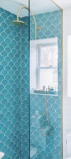 Beach House Guest Bathroom Reveal - Bright Bazaar by Will Taylor Mermaid Tile, Ideias Diy, Bathroom Inspiration, Bathroom Ideas, Beautiful Bathrooms, Decoration, Beach House, Tiny House, New Homes