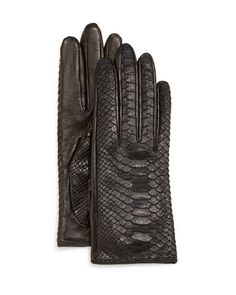 Python/Napa Leather Gloves, Black/Navy by Guanti at Neiman Marcus.