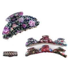 4pcs New  Women hair Snap clamp clip claw Print Flower barrette scallop updo Lot