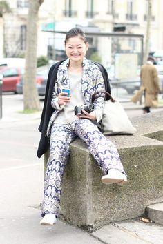 #reishito #stylefromtokyo #tokyo #pyjama #blogger #japan #paris #look #streetstyle #streetview #street #style #offcatwalk on #sophiemhabille