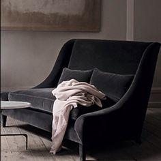 Elegant black velvet sofa elegante schwarze samtcouch - Canape b b italia ...