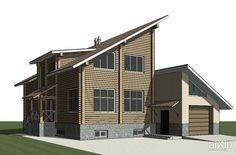 Индивидуальный жилой дом с пристроенным кирпичным гаражем #architecture #construction #2floors_6m #housing #modernism #200_300m2 #facade_brick #facade_wood #cottage #mansion #phrase_44547