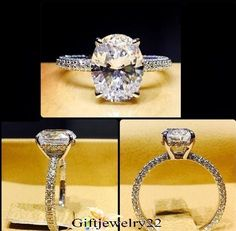 14K White Gold 1.56 Ct D/VVS1 Oval Cut Diamond Solitaire Engagement Wedding Ring #giftjewelry22 #SolitaireWithAccents