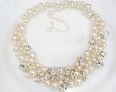 Gioielli collana di perle da sposa bianco di adriajewelry su Etsy