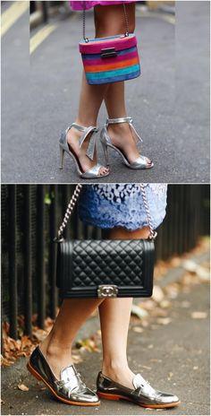 Os sapatos metalizados são aquela moda que veio bem tímida, com um monte de gente achando que seria passageira… mas não é que vingou? E o mais incrível é que perdemos o medo de usar sapatos prateados em qualquer hora do dia e lugar