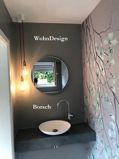 Dance out of line . Make a guest bathroom. Elegant flair for small rooms. With seamless wall designs, - Modern Farmhouse Kitchens, Farmhouse Kitchen Decor, Small Rooms, Small Spaces, Wc Design, Guest Toilet, Bad Inspiration, Bathroom Light Fixtures, Living Room Designs