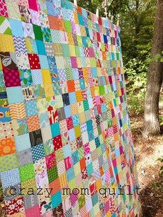 """crazy mom quilts: 3 inch cut squares is the magic number for this scrap quilt, 2-1/2"""" finished size."""