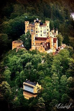 Castle Hohenschwangau, in southern Germany: This castle was built in the 19th century in the village of Hohenschwangau in southern Germany.