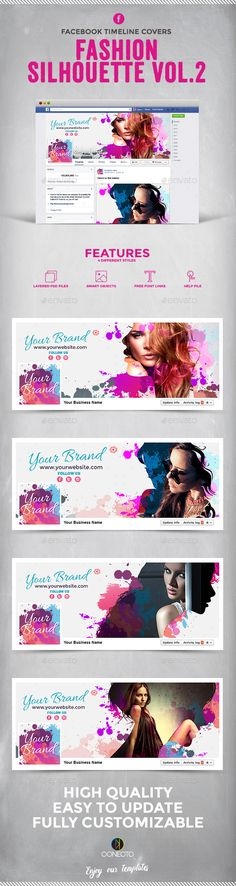 Facebook Timeline Cover - Fashion Silhouette Template PSD #design #social Download: http://graphicriver.net/item/facebook-timeline-cover-fashion-silhouette-vol2/11986623?ref=ksioks
