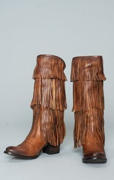 Freebird by Steven Ranger Fringe Boot ~ Brown Leather
